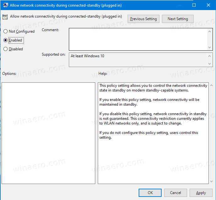 Windows 10 Networking Connectivity In Standby GP 3