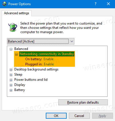 Windows 10 Networking Connectivity In Standby Power Options