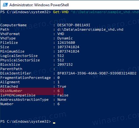 Windows 10 VHD DiskNumber PowerShell Get VHD