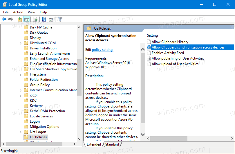 Disable Clipboard Syncronization Accross Devices In Windows 10