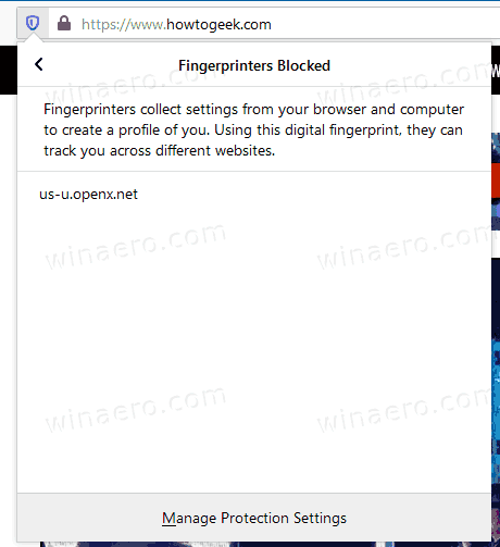 Firefox 72 Blocked FingerPrints