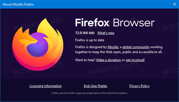 Firefox 72 About
