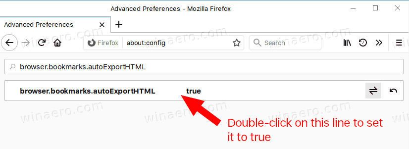 Firefox Enable Auto Export Bookmarks To HTML