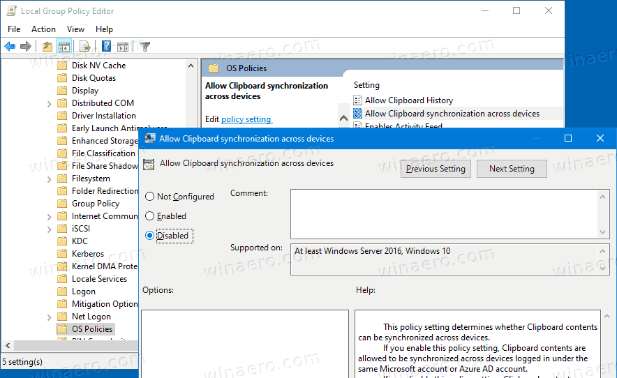 Group Policy Clipboard Syncronization Accross Devices In Windows 10
