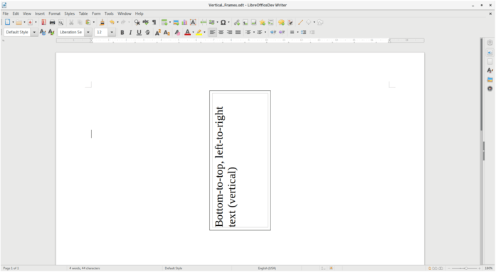 LibreOffice 6.4 BtLr Text Direction In Writer