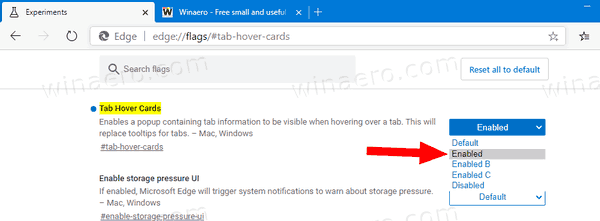 Microsoft Edge Enable Tab Hover Cards