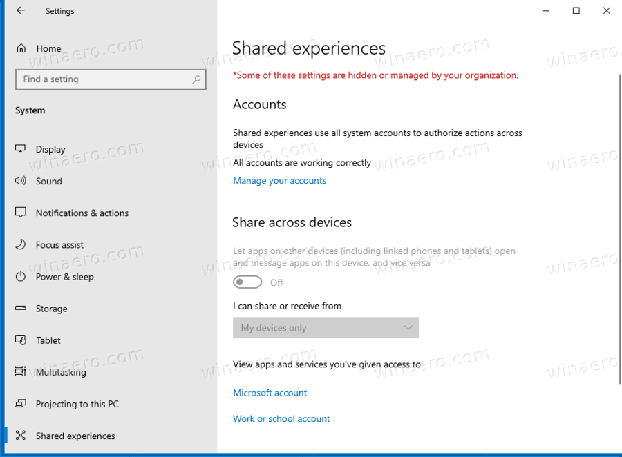 Shared Experiences Disabled In Windows 10 Settings
