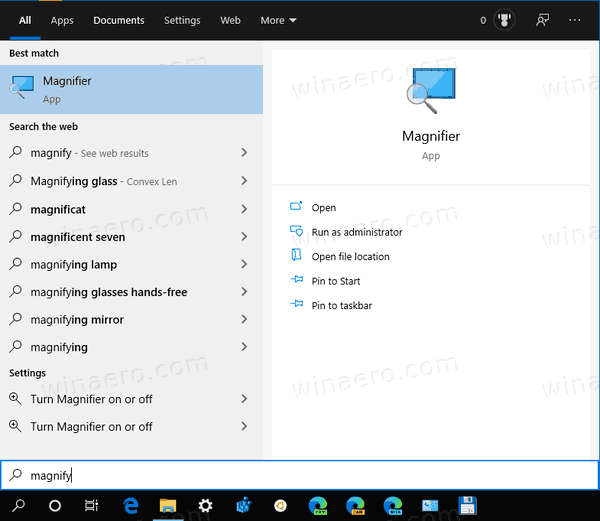 Windows 10 Start Magnifier Search
