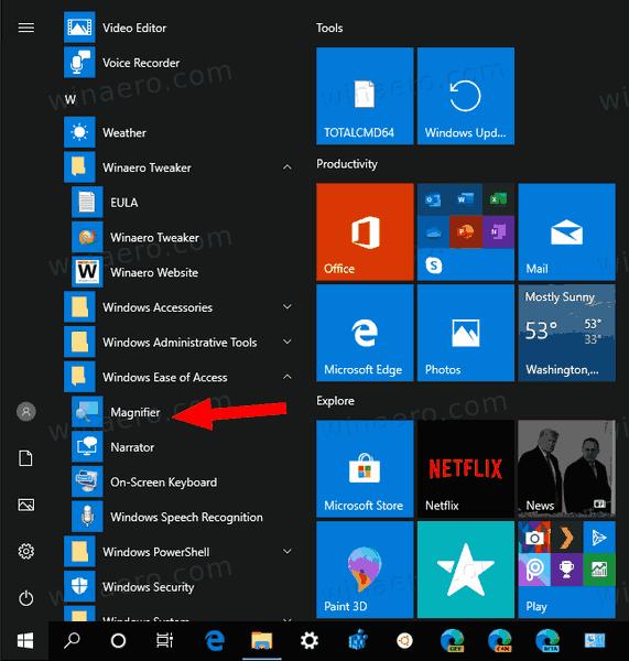 Windows 10 Start Menu Magnifier