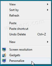 Windows 7 Desktop Context Menu