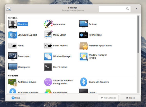 Xfce 4.15 Settings Manager 1