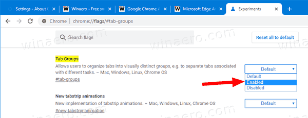 Chrome Enable Tab Groups