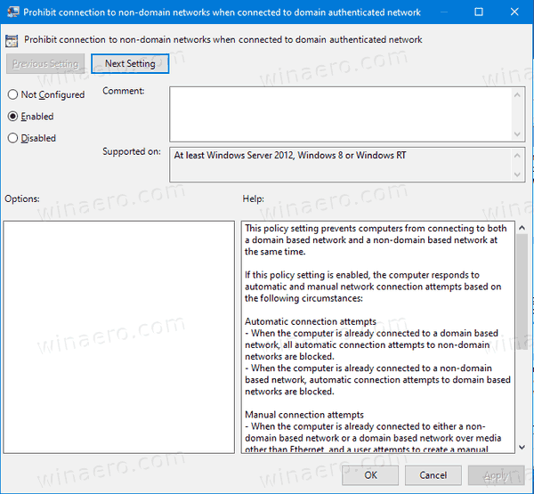 Disable Simultaneous Connection To Non Domain And Domain In Windows 10