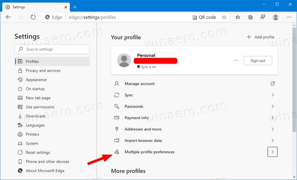 Edge Settings Profiles Multiple Profile Preferences Link