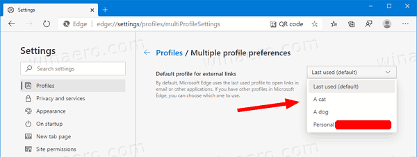 Edge Settings Profiles Set Profile For External Links