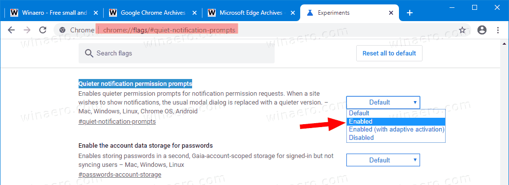Google Chrome Enable Quieter Notification Permission Prompts