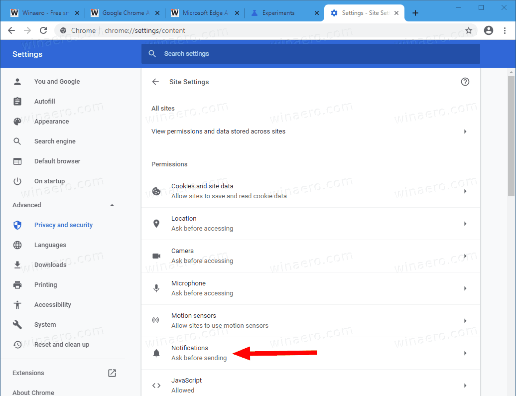 Google Chrome Settings Privacy Site Settings Notifications