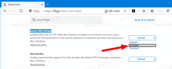 Microsoft Edge Enable DNS Over HTTPS
