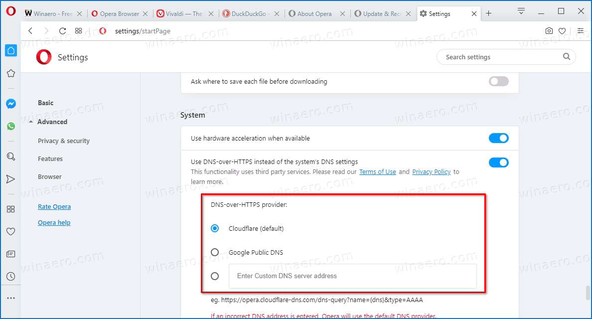 Opera Enable DNS Over HTTPS Step 3