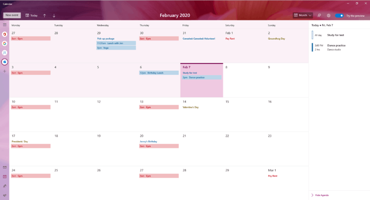 Windows 10 Build 19564 Calendar