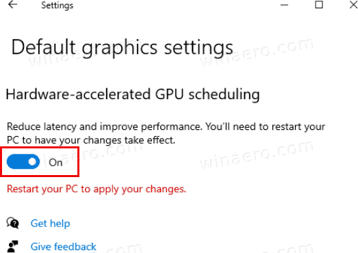 Windows 10 Enable Hardware Accelerated GPU Scheduling