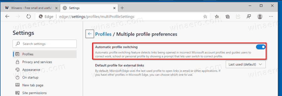 Disable Automatic Profile Switching In Microsoft Edge