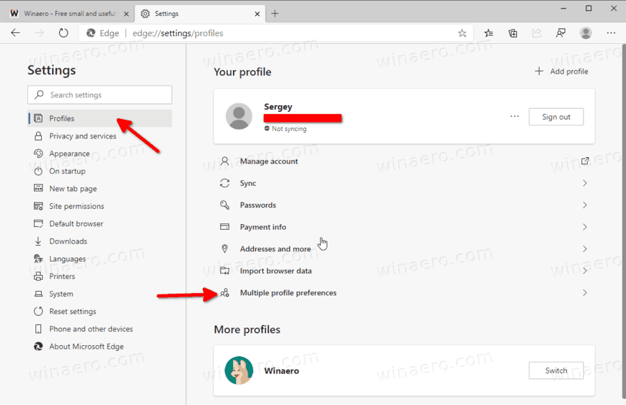 Edge Multiple Profile Preferences Link