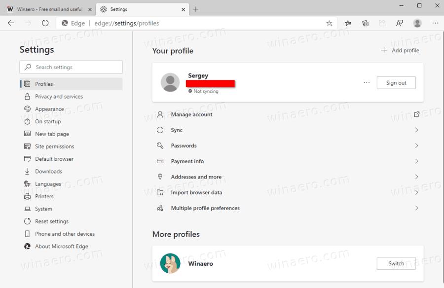 Edge Profile Switching
