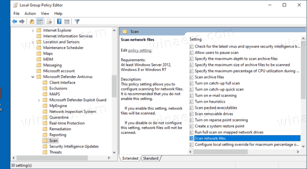 Enable Scan Network Files In Defender With Group Policy