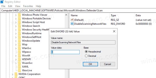 Enable Scan Network Files In Defender With Registry Tweak