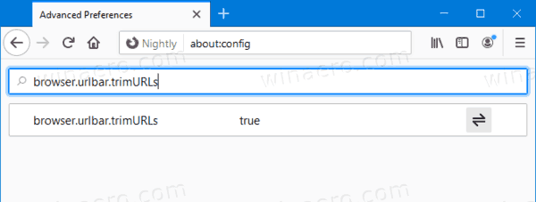 Firefox Browser.urlbar.trimURLs