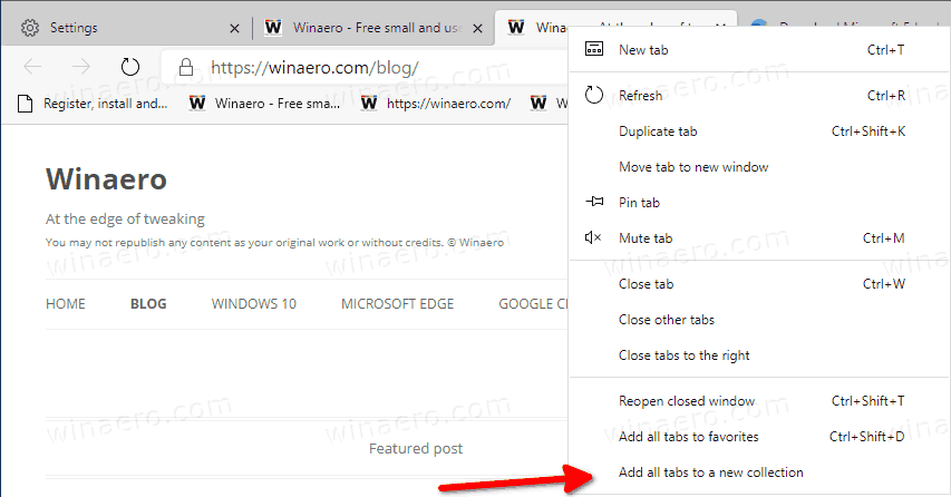 Microsoft Edge Add All Tabs To Collection