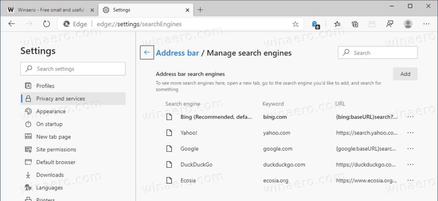 Microsoft Edge Change Search Engine