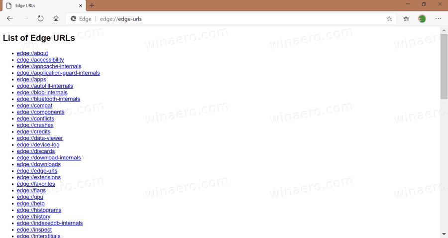 Microsoft Edge Internal URLs