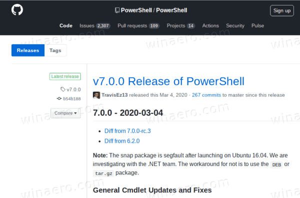 PowerShell Release Page On GitHub