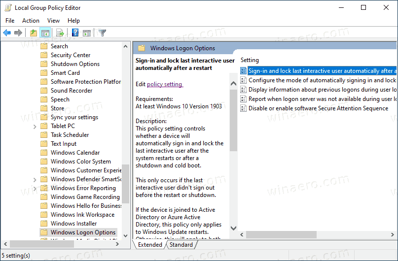 Sign In And Lock Last Interactive User Automatically After A Restart Policy