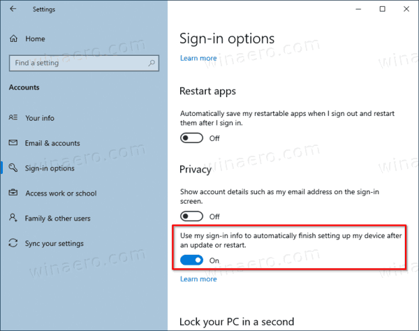 Use Sign In Info To Auto Finish After Update Or Restart In Windows 10
