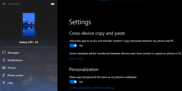 Windows 10 Build 19582 Your Phone Shared Clipboard