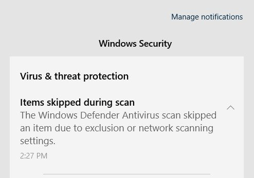 Windows 10 Defender Bug Skipped Files