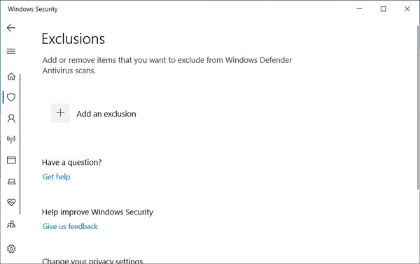 Windows 10 Defender Exclusions