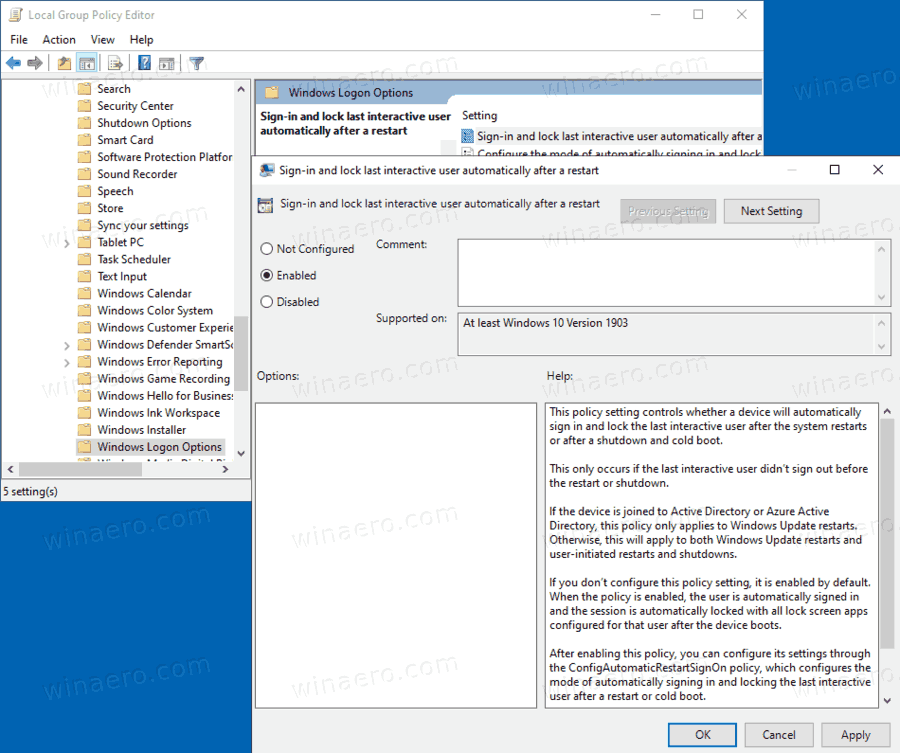 Windows 10 Enable Sign In And Lock Last Interactive User Automatically After A Restart