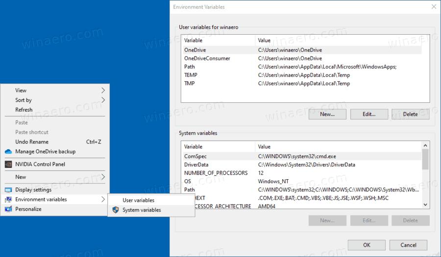 Windows 10 Environment Variables Context Menu