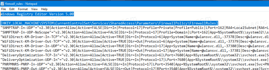 Windows 10 Firewall Rules Containted In Reg File