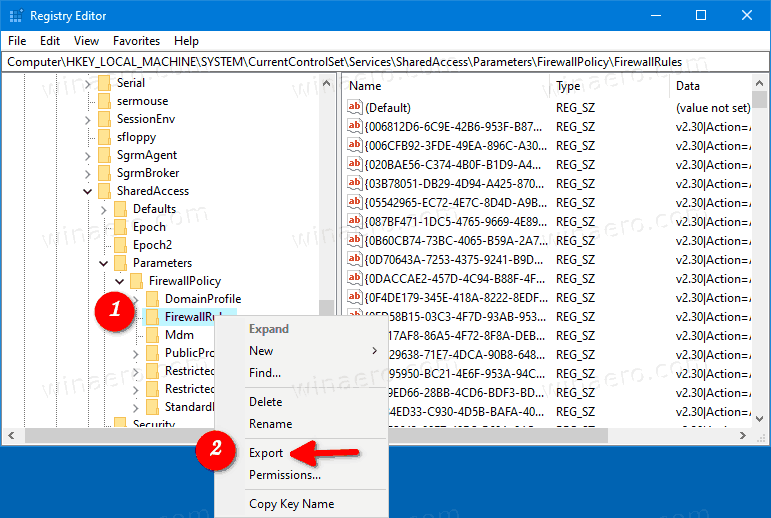 Windows 10 Firewall Rules In Registry