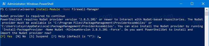 Windows 10 Install Firewall Manager PowerShell Module