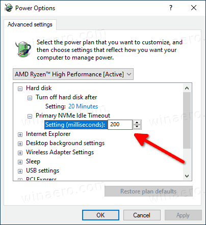 Windows 10 Primary NVMe Idle Timeout Option