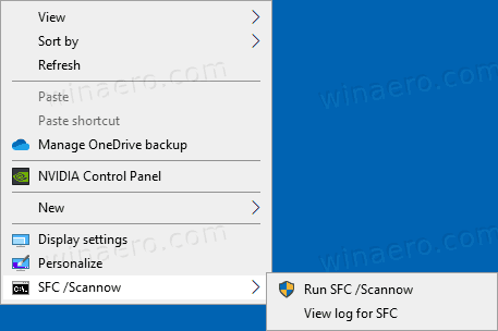 Windows 10 SFC Scannow Context Menu