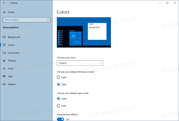 Windows 10 Settings Colors Page