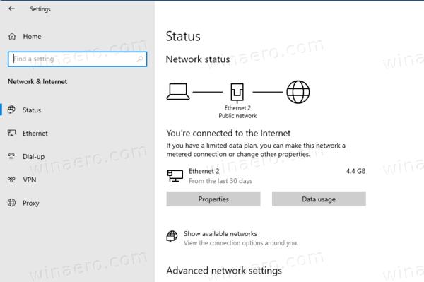 Windows 10 Ver 2004 Network Data Usage