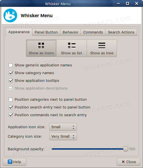 Whisker Menu Icon View Options